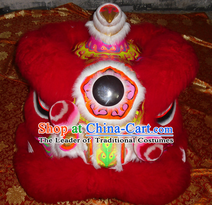 Red Wool Top Asian Chinese Lion Dance Troupe Performance Suppliers Pants Equipments Art Instruments Lion Tail Costumes Complete Set for Men