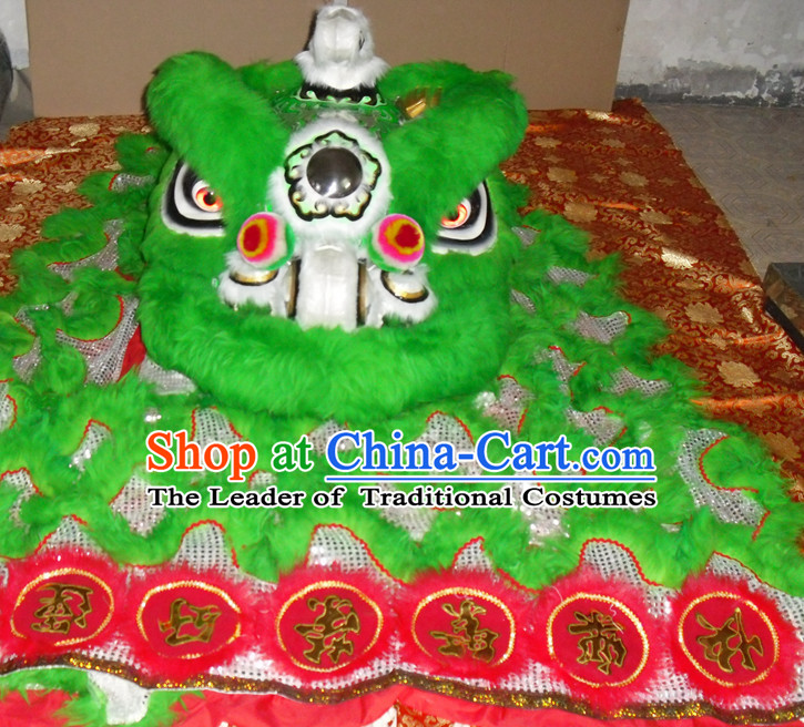 Grass Green Top Asian Chinese Lion Dance Troupe Performance Suppliers Pants Equipments Art Instruments Lion Head Tail Costumes Complete Set