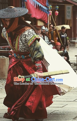Ancient Chinese Mysterious Knight Costumes Garments Complete Set for Men