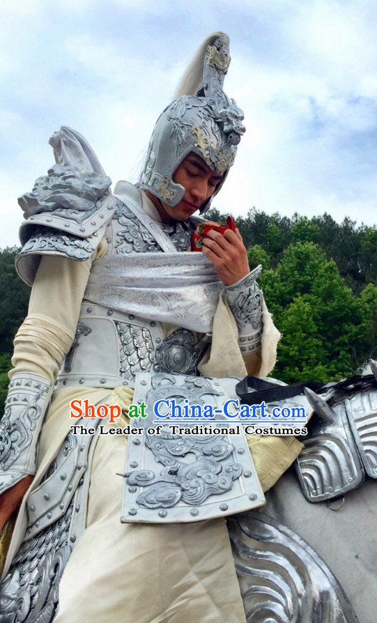 Ancient Chinese Superhero Zhao Zilong Fighter Body Armor Costumes Garments Complete Set for Men