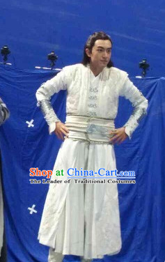 Ancient Chinese Superhero Zhao Zilong Fighter Costumes Garments Complete Set for Men