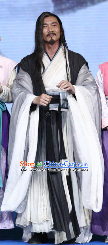 Ancient Chinese Wise Men Male Hanfu Clothing Garments and Hat Complete Set