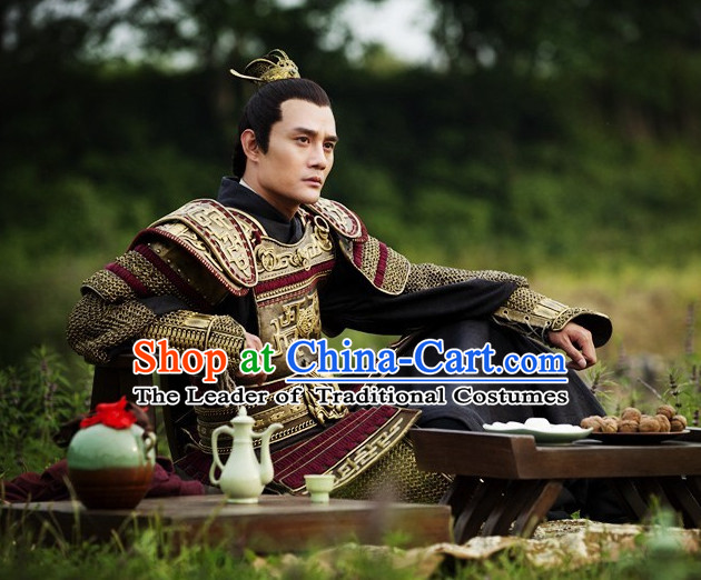 Chinese Ancient General Armor Costume and Hair Accessories Complete Set for Men