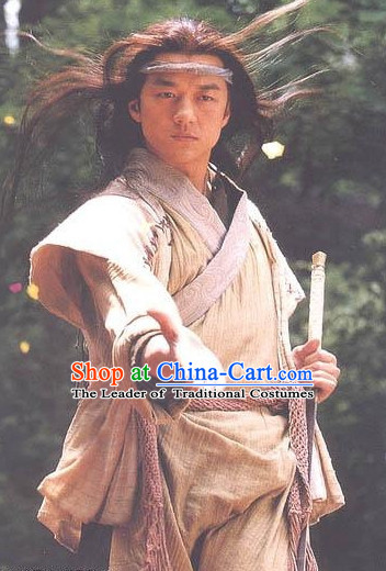 Ancient Chinese Xiao Ao Jiang Hu TV Drama Ling Hucheng Superhero Costumes Complete Set for Men