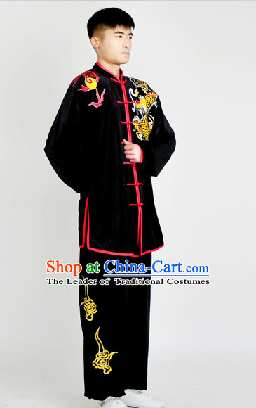 Chinese Classical Style Martial Arts Summer Wear Kung Fu Embroidered Uniforms for Men Women Children