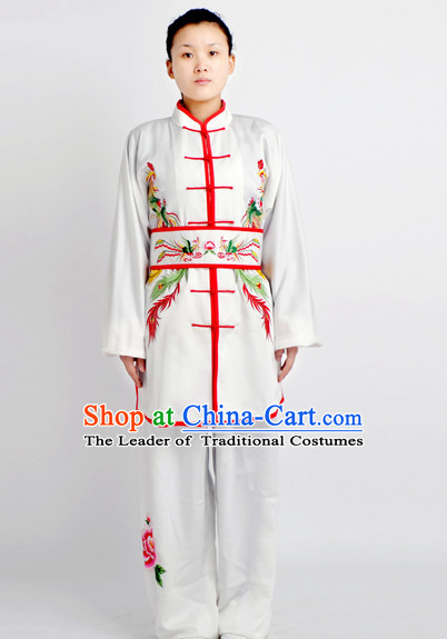 Chinese Traditional Style Martial Arts Summer Wear Kung Fu Embroidered Phoenix Uniforms for Men Women Children