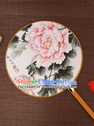 Ancient Chinese Classic Handmade Birds Palace Fan Round Fan Mandarin Fan Gong Shan Dance Fan