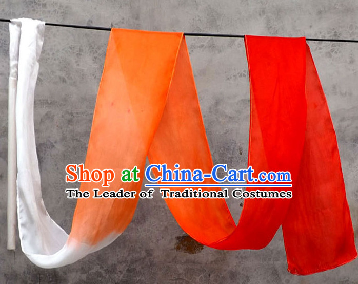3 Meters Pure Silk White to Orange Color Changing Dance Ribbon Dancing Ribbons