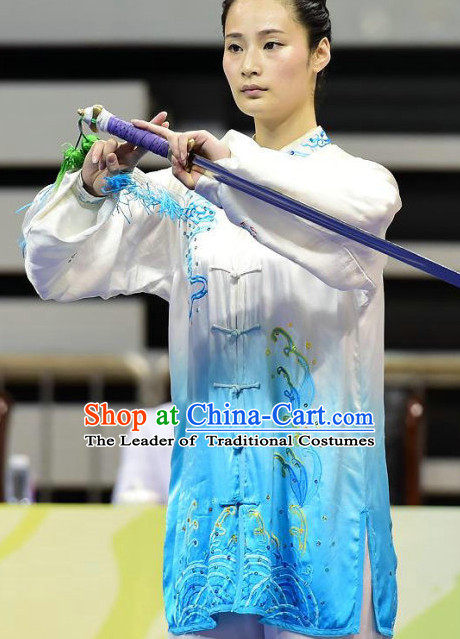 Top Blue White Kung Fu Competition Championship Uniforms Pants Suit Taekwondo Apparel Karate Suits Attire Robe Championship Costume Chinese Kungfu Jacket Wear Dress Uniform Clothing Taijiquan Shaolin Chi Gong Taichi Suits for Men Women Kids
