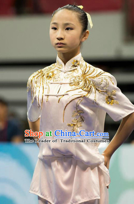 Top White Kung Fu Competition Championship Uniforms Pants Suit Taekwondo Apparel Karate Suits Attire Robe Championship Costume Chinese Kungfu Jacket Wear Dress Uniform Clothing Taijiquan Shaolin Chi Gong Taichi Suits for Men Women Kids