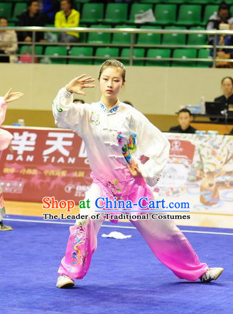 Top Color Transition Taiji Kung Fu Competition Championship Uniforms Pants Suit Taekwondo Apparel Karate Suits Attire Robe Championship Costume Chinese Kungfu Jacket Wear Dress Uniform Clothing Taijiquan Shaolin Chi Gong Taichi Suits for Men Women Kids