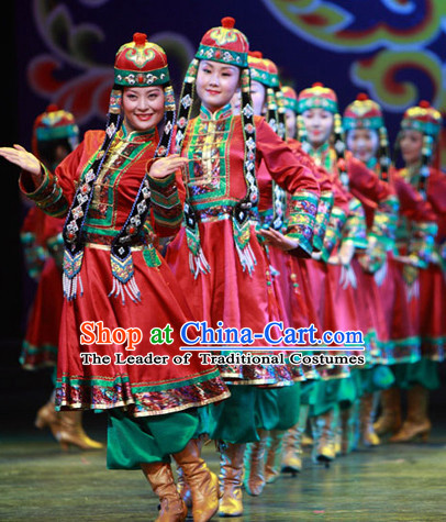 Chinese Traditional Mongolian Dancing Outfits Dancewear Costumes Dancer Costumes Girls Dance Costumes Chinese Dance Clothes Traditional Chinese Clothes Complete Set for Men