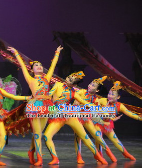 Chinese Stage Acrobatic Dancing Dancewear Costumes Dancer Costumes Dance Costumes Chinese Dance Clothes Traditional Chinese Clothes Complete Set for Women Kids