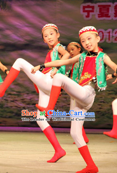 Chinese Xinjiang Stage Dancing Dancewear Costumes Dancer Costumes Dance Costumes Chinese Dance Clothes Traditional Chinese Clothes Complete Set for Women Kids