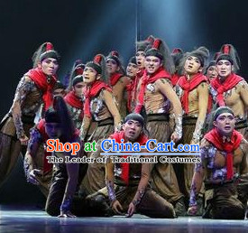 Chinese Stage Classical Dancing Dancewear Costumes Dancer Costumes Dance Costumes Chinese Dance Clothes Traditional Chinese Clothes Complete Set for Men Kids