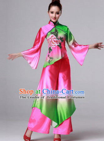 Chinese Stage Folk Fan Dancing Dancewear Costumes Dancer Costumes Dance Costumes Chinese Dance Clothes Traditional Chinese Clothes Complete Set for Women Children