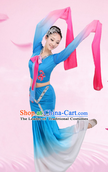 Chinese Traditional Stage Water Sleeves Dance Dancewear Costumes Dancer Costumes Dance Costumes Clothes and Headdress Complete Set for Children