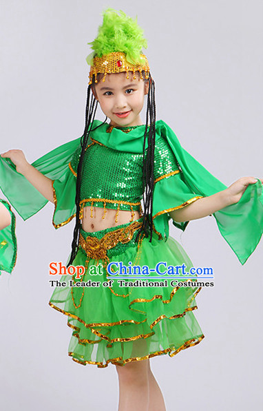 Chinese Traditional Stage Xinjiang Minority Ethnic Dance Dancewear Costumes Dancer Costumes Dance Costumes Clothes and Headdress Complete Set for Girls Kids