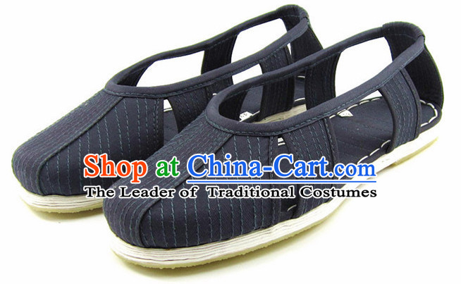 Top Chinese Classic Traditional Tai Chi Shoes Kung Fu Shoes Martial Arts Dark Blue Shaolin Shoes for Men