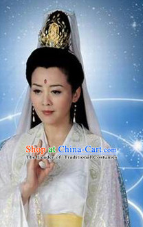 Chinese Ancient Classical Guanyin Hair Jewelry Headwear Headdress and Long Wigs