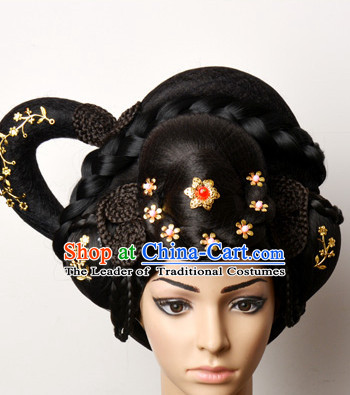 Chinese Ancient Classical Princess Queen Empress Hair Jewelry Headwear Headdress and Long Wigs