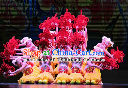 Chinese Red Knot Dance Costumes and Hat Complete Set