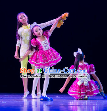 Chinese Traditional School Dance Costumes Complete Set for Kids
