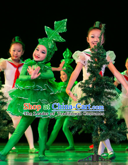 Chinese Traditional Tree Dance Costumes Complete Set for Kids