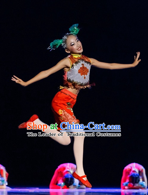 Chinese Folk Dance Costumes Complete Set for Kids Girls