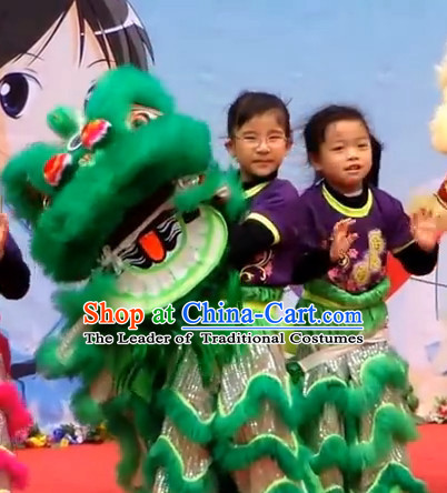 Green Top 100% Natural Long Wool Elementary Lion Dance Costumes Complete Set for Kids Children Boys Girls
