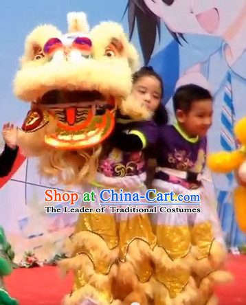 Light Yellow Color Top 100_ Natural Long Wool Middle School Lion Dance Costumes Complete Set for Kids Children Boys Girls