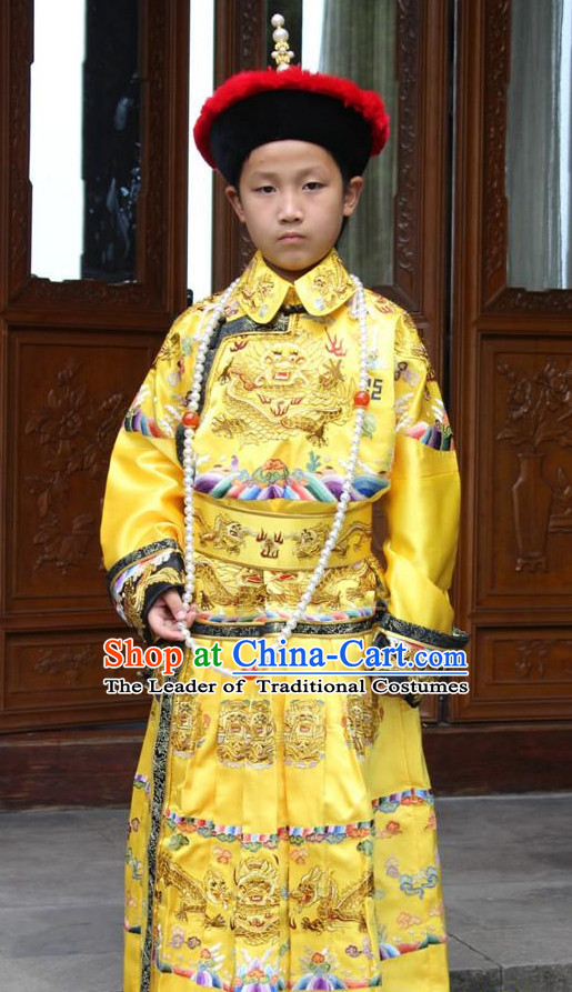 Qing Dynasty Chinese Emperor Embroidered Dragon Robe Hanfu Dresses Garment and Crown Complete Set for Men and Boys