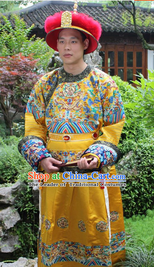 Qing Dynasty Chinese Emperor Embroidered Dragon Robe Hanfu Dresses Garment and Crown Complete Set for Men