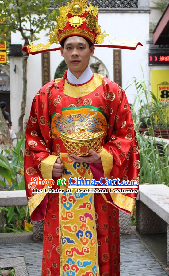 Top Chinese Cai Shen Money God Costume Costumes and Cai Shen Ye Hat Complete Set for Boys Children Kids