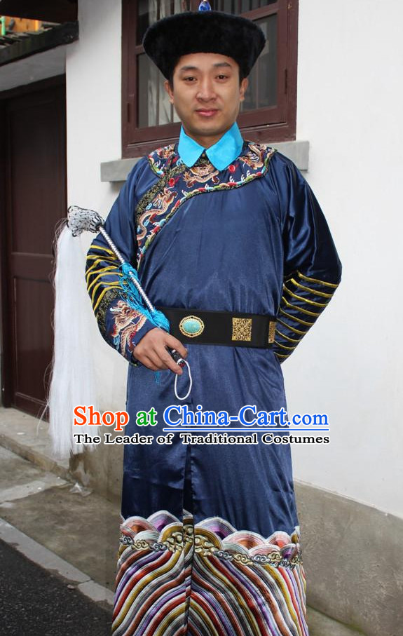 Top Chinese Qing Dynasty Official Costume Costumes and Hat Complete Set for Men and Boys