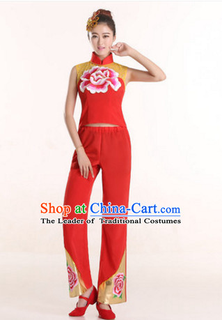 Sleeveless Chinese New Year Fan Dance Costumes and Headdress Complete Set for Women