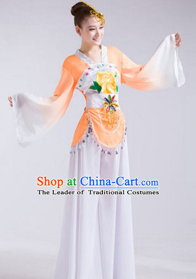 Chinese Folk Festival Celebration Fan Dance Costumes and Headdress Complete Set for Women