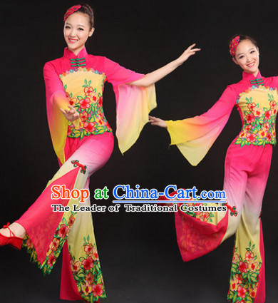 Chinese Traditional Folk Dance Costumes Dancing Outfits and Headwear Complete Set for Women or Girls
