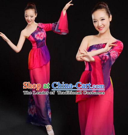 One Shoulder Chinese Classical Dance Costumes Dancewear and Hair Decorations Complete Set for Women or Girls