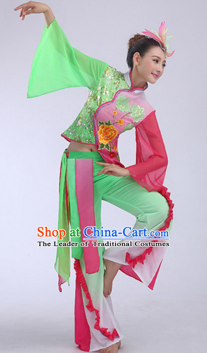 Light Green Chinese Folk Fan Dancing Costumes and Headdress Complete Set for Women