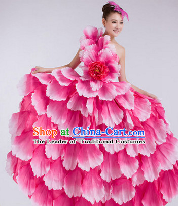 Chinese Stage Performance Flower Dancewear Costume and Headdress Complete Set for Women