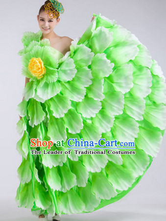 Green Chinese Stage Performance Flower Dancewear Costume and Headdress Complete Set for Women