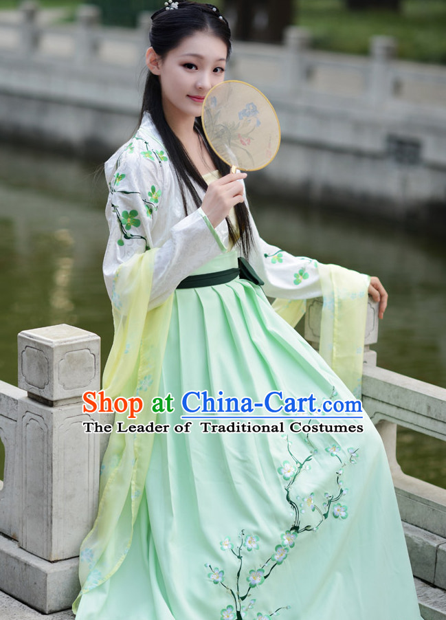White Green Chinese Han Dynasty Clothing and Headdress Complete Set for Women