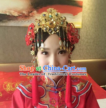 Top Chinese Traditional Wedding Bridal Phoenix Coronet Crown Headpieces Hair Jewelry Bridal Hair Clasp Hairpins Set