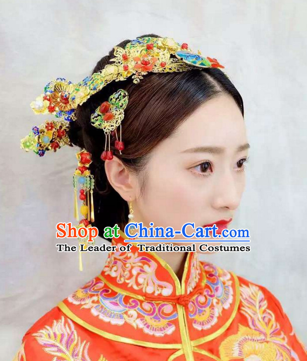 Top Chinese Traditional Wedding Headpieces Hair Jewelry Bridal Hair Clasp Hairpins