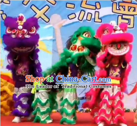 Top 100_ Natural Long Wool School Lion Dance Costumes Complete Set for Teenagers Kids Children Boys Girls