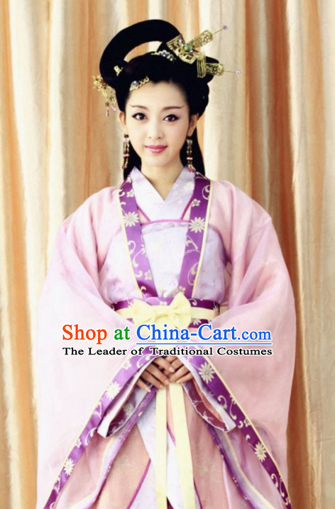 Traditional Chinese Hanfu Garment and Hair Jewelry Complete Set for Women