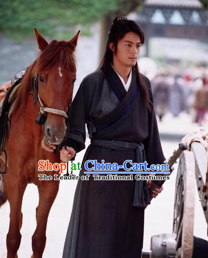 Black Color Chinese Ancient Style Male Hanfu Clothes Complete Set