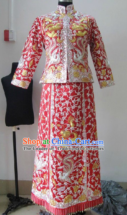 Chinese Classical Mandarin Wedding Dresses Blouse and Skirt Complete Set for Brides