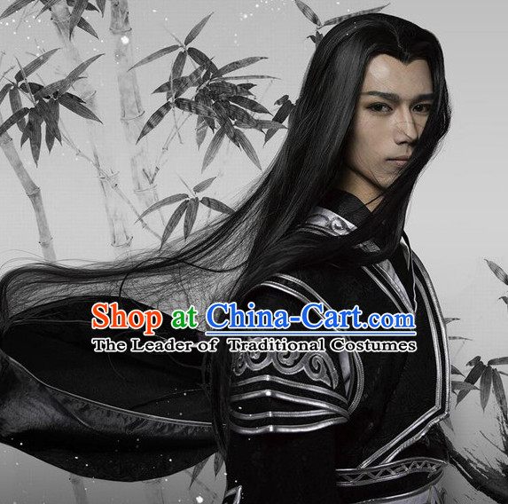 Chinese Ancient Male Style Black Long Wigs